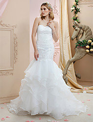 Mermaid / Trumpet Sweetheart Court Train Lace Organza Wedding Dress with Buttons Cascading Ruffles by LAN TING BRIDE®