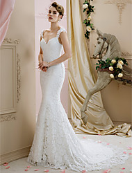 cheap -Ball Gown Mermaid / Trumpet Straps Court Train Lace Custom Wedding Dresses with by LAN TING BRIDE®