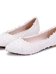cheap -Women's Shoes PU Spring Fall Novelty Comfort Wedding Shoes Flat Heel Pointed Toe Beading Appliques for Wedding Party & Evening White