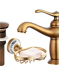 cheap -Centerset Widespread with  Ceramic Valve Single Handle One Hole for  Antique Copper , Bathroom Sink Faucet