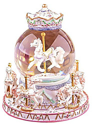 Music Box Light Up Toys Toys Horse Carousel Cartoon Toughened Glass 1 Pieces Not Specified Birthday Valentine's Day Gift