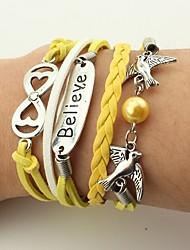Men's Women's Leather Bracelet Wrap Bracelet Imitation Pearl Handmade Vintage Bohemian Leather Alloy Bird Infinity Jewelry For Wedding