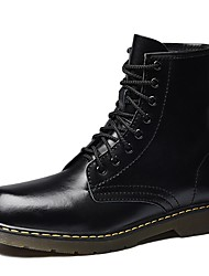 cheap -Men's Shoes Leather / Cowhide Winter Combat Boots Boots Black / Coffee / Burgundy