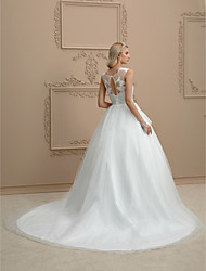 cheap -Ball Gown Illusion Neck Court Train Organza / Tulle Custom Wedding Dresses with Appliques by LAN TING BRIDE®