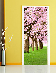 cheap -3D Cherry Tree Scenery Door Mural Sticker Decorative Sakura Tree Flowers Door Stickers Mural Large Size 77*200cm For Living Kids Room Home Decoration