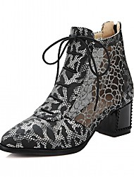 cheap -Women's Shoes Leatherette Fall Winter Comfort Novelty Fashion Boots Boots Chunky Heel Round Toe Booties/Ankle Boots With Lace-up For