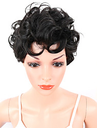 Women Synthetic Wig Capless Short Curly Afro Black African American Wig For Black Women Middle Part With Bangs Party Wig Celebrity Wig