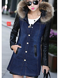 cheap -Women's Daily Going out Simple Casual Winter Fall Denim Jacket,Solid Hooded Long Sleeve Regular Cotton