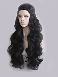 cheap -Synthetic Wig Wavy Synthetic Hair Middle Part / Plait Hair Black Wig Women's Long Capless