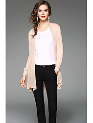 Standard Cardigan Da donna-Casual Semplice Tinta unita Rotonda Manica lunga Poliestere Primavera Autunno Sottile Media elasticità