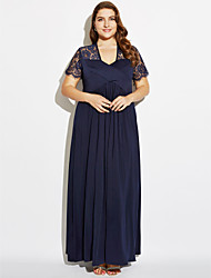 Women's Plus Size / Party / Club Sexy / Vintage Sheath Dress,Solid Deep V Maxi Short Sleeve Blue BN0190