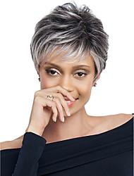 abordables -Perruque Synthétique Ondulation Lâche Cheveux Synthétiques Racines foncées Gris Perruque Femme Court Sans bonnet