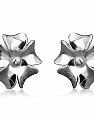 Women's Stud Earrings Jewelry Basic Simple Style Sterling Silver Flower Jewelry For Birthday Gift