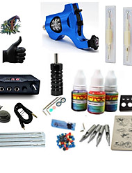 cheap -Tattoo Machine Starter Kit 1 rotary machine liner & shader LCD power supply 1 x aluminum grip 2 x disposable grip 5 pcs Tattoo Needles