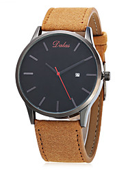 Men's Fashion Watch Chinese Quartz Calendar Large Dial Leather Band Vintage Casual Minimalist Black Brown