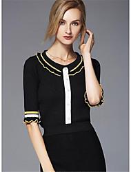 Corto Pullover Da donna-Casual Per uscire Moda città A strisce Monocolore Rotonda Mezza manica Cotone Acrilico Primavera Autunno Medio