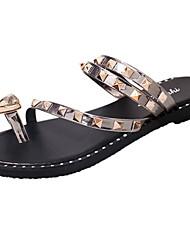 cheap -Women's Shoes PU Summer Comfort Light Soles Sandals Flat Heel Open Toe Rivet For Casual Dress Yellow Black White