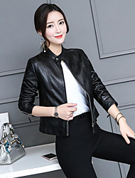cheap -Women's Work Leather Jacket - Solid