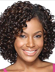 cheap -Synthetic Wig Wavy Synthetic Hair Highlighted / Balayage Hair Brown Wig Women's Short Capless