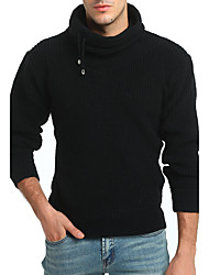 Men's Casual/Daily Simple Regular Pullover,Solid Turtleneck Long Sleeves Polyester Winter Thick Stretchy