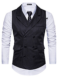 cheap -Men's Daily Going out Simple Casual Winter Fall Vest,Striped Shirt Collar Sleeveless Regular Cotton