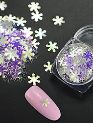 1 g / bouteille de mode hiver noël flocon de neige paillettes paillettes laser arc-en-ciel bleu brillant ongles bricolage décoration