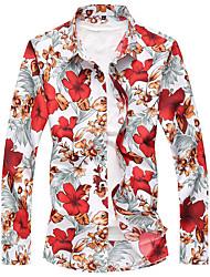 preiswerte -Herren Blumen Einfach Lässig/Alltäglich Übergröße Hemd,Klassischer Kragen Frühling Herbst Langarm Polyester Dünn