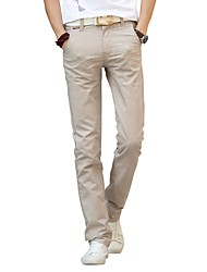 Homme simple Taille Normale Micro-élastique Chino Pantalon,Droite Couleur Pleine