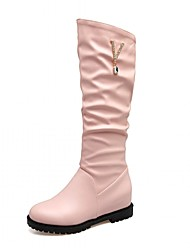 Women's Shoes Leatherette Fall Winter Fashion Boots Boots Wedge Heel Round Toe Knee High Boots Rhinestone Buckle For Casual Office &