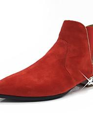 Недорогие -Для женщин Обувь Нубук Осень Зима Модная обувь Ботильоны Ботинки На низком каблуке Заостренный носок Ботинки Искусственный жемчуг