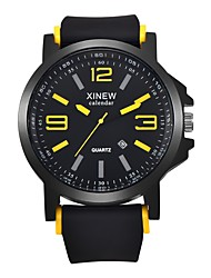 cheap -Men's Women's Casual Watch Sport Watch Fashion Watch Quartz Calendar / date / day Cool Punk Silicone Band Analog Luxury Casual Bangle Black - Yellow Red Blue / Large Dial