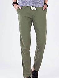 Men's Mid Rise Micro-elastic Chinos Pants,Simple Loose Straight Solid