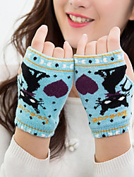 Women's Acrylic Knitwear Wrist Length Half Finger,Casual Cartoon Winter Gloves Keep Warm Lovely Fashion Knitwear Jacquard Fall Winter