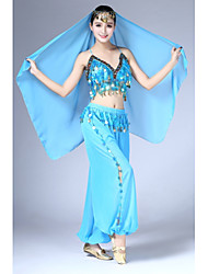 Danza del ventre Completi Per donna Esibizione Chiffon Plissettato Paillettes 3 pezzi Senza maniche Naturale Top Pantaloni Accessori per