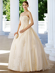 cheap -Ball Gown Strapless Sweep / Brush Train Lace Tulle Custom Wedding Dresses with Appliques by LAN TING BRIDE®