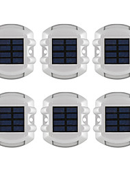 baratos -6pcs alumínio solar 6-led outdoor road driveway dock path light light lamp
