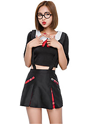 cheap -Student / School Uniform Cosplay Costume Christmas Halloween Carnival Oktoberfest New Year Festival / Holiday Halloween Costumes Black