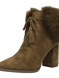 Women's Shoes Suede Fall Winter Comfort Bootie Boots Chunky Heel Pointed Toe Booties/Ankle Boots Tassel For Office & Career Dress Khaki