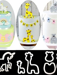 cheap -7PCS Baking Decorating Tools Craft Unicorn Giraffe Hippo Cookie Cutter Fondant Cake Mold Stencil Stamp Kitchen