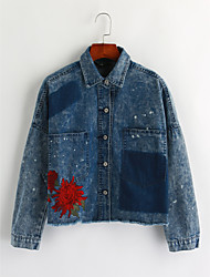cheap -Women's Vintage Denim Jacket-Solid Colored,Embroidered