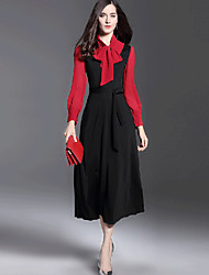 Women's Going out Work Boho Street chic Sophisticated Sheath Swing Dress,Patchwork Asymmetrical Midi Long Sleeves Others Fall Winter Mid