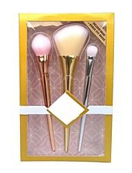 3 pezzi Set di pennelli Pennello per cipria Pennello per ombretto Contour Brush Capelli sintetici Coppa larga sintetico Resina Labbro
