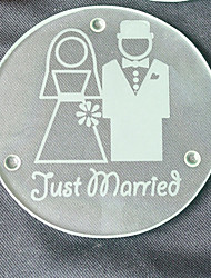 cheap -Just Married Glass Coasters - 2pcs/box - Groom and Bride Beter Gifts® Wedding Party Favors