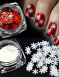 2Colors/Set 1g/Bottle Xmas White&Red Nail Art Shining 3D Snowflake Sequins DIY Manicure Decoration