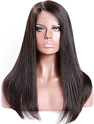 cheap -Remy Human Hair Lace Front Wig Brazilian Hair Straight Yaki With Baby Hair 130% 150% 180% Density Unprocessed 100% Virgin Natural Hairline