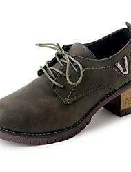 Недорогие -Для женщин Обувь Полиуретан Осень Зима Удобная обувь Обувь на каблуках На толстом каблуке Круглый носок Назначение Повседневные Черный