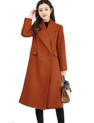 Damen Solide Einfach Lässig/Alltäglich Übergröße Mantel,Peter Pan-Kragen Winter Lange Ärmel Lang Kaschmir Kunstseide