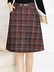 cheap -Women's Daily Knee-length Skirts,Casual A Line Polyester Geometric Winter Fall