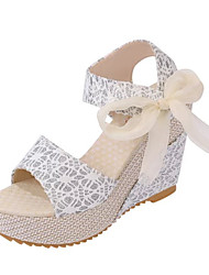 cheap -Women's Shoes PU Spring Summer Mary Jane Comfort Light Soles Sandals Low Heel Wedge Heel Peep Toe Ruffles Lace-up Flower For Casual Beige