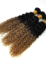Virgin Brazilian Natural Color Hair Weaves Water Wave Hair Extensions 3 Pieces Black/Strawberry Blonde